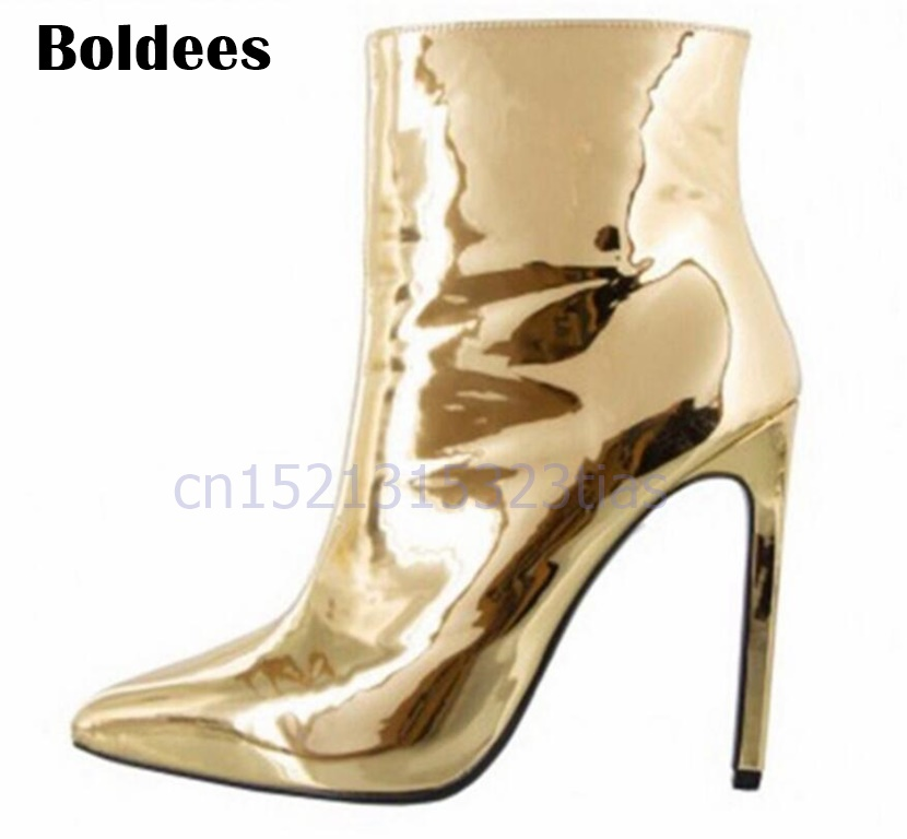 Fashion Design Mirror Leather High Heels Shoes Women Sexy Martin Boots Silver Nightclub Shoes Female Thigh High Booties