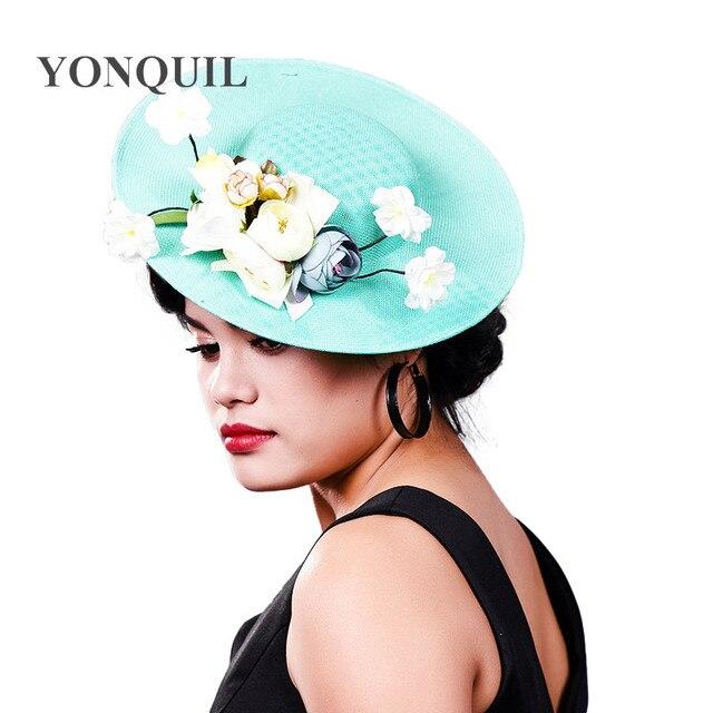 4806829c3bb5d Women Fancy 30cm big size Fascinator hat for Bridal lady Wedding Headwear  silk flower headwear and