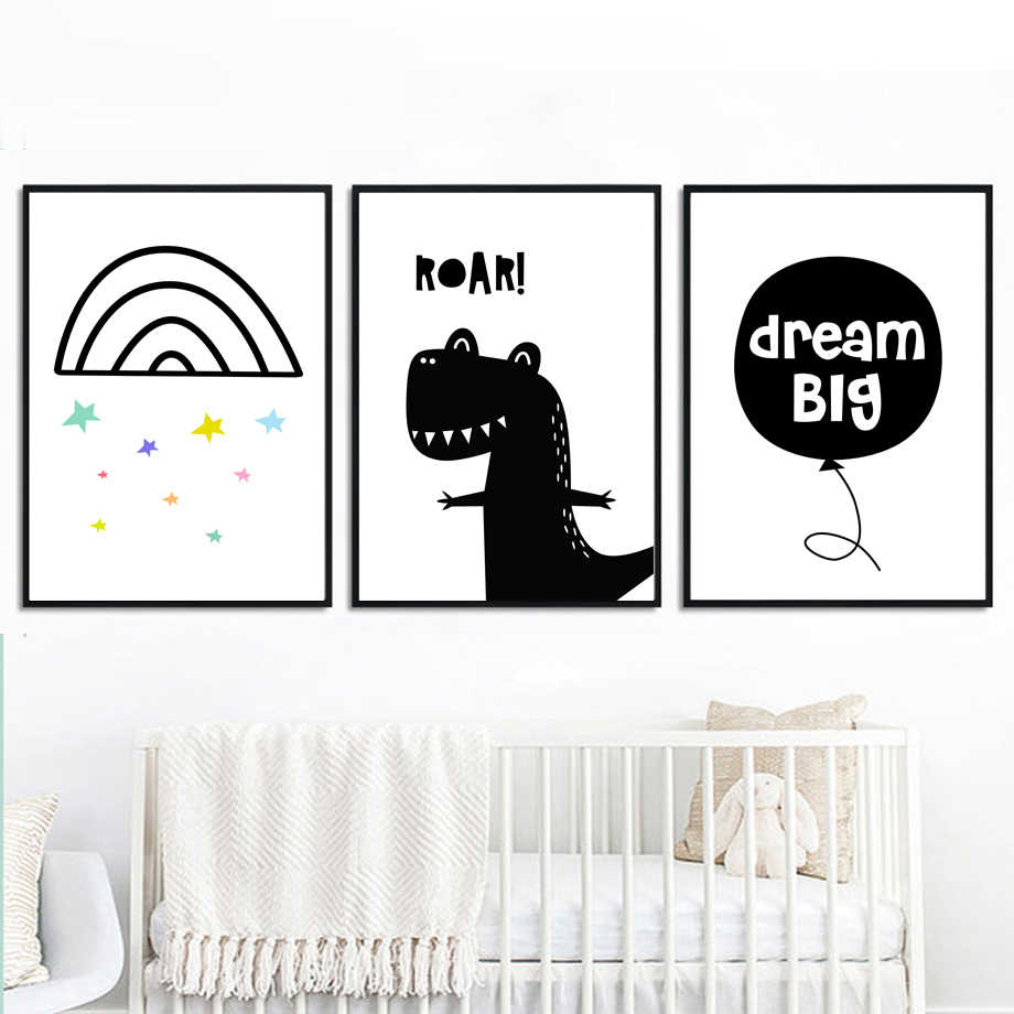 COLORFULBOY Dinosaur Black White Nordic Poster Wall Art Print Canvas Painting Posters And Prints Wall Pictures Kids Room Decor
