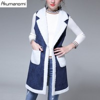 Winter Vests Overcoat Thicken Turn-down Collar Panelled Patch Pocket Women's Clothing Autumn Coat High Quality Plus Size 5XL 4XL