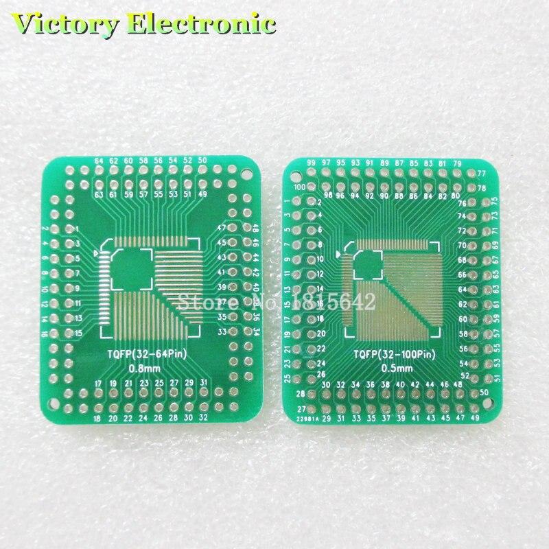 2pcs QFP//TQFP//LQFP//FQFP 32//44//64//80//100 to DIP Adapter PCB Board Converter