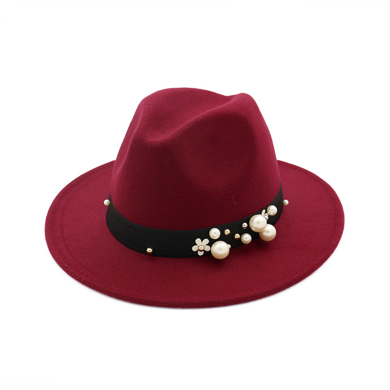 High Quality Spring Winter Pearl Black Band Jazz Fedora Hats Lady Wo ... 7d92282f57d8
