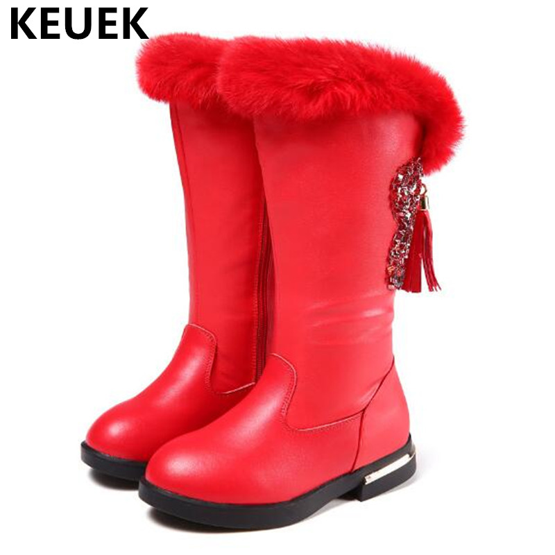 New Children Boots Rhinestone Fringe Shoes Girls Princess Party Dance Genuine Leather High Boots Kids Warm Winter Snow Boots 03 цены онлайн
