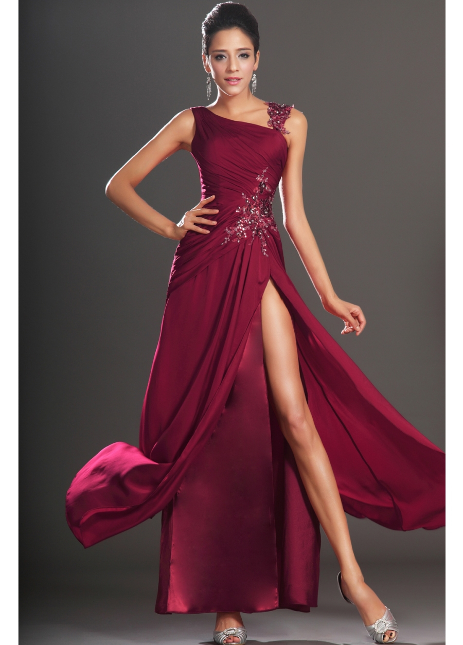 SUN644 Dark Red Free Shipping A-line Vestido Longo Chiffon Ankle Length High Slit Side Gown Formal Evening Dress Cap Sleeve