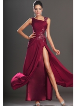 SUN644 Dark Red Free Shipping A-line Vestido Longo Chiffon Ankle Length High Slit Side Gown Formal Evening Dress Cap Sleeve