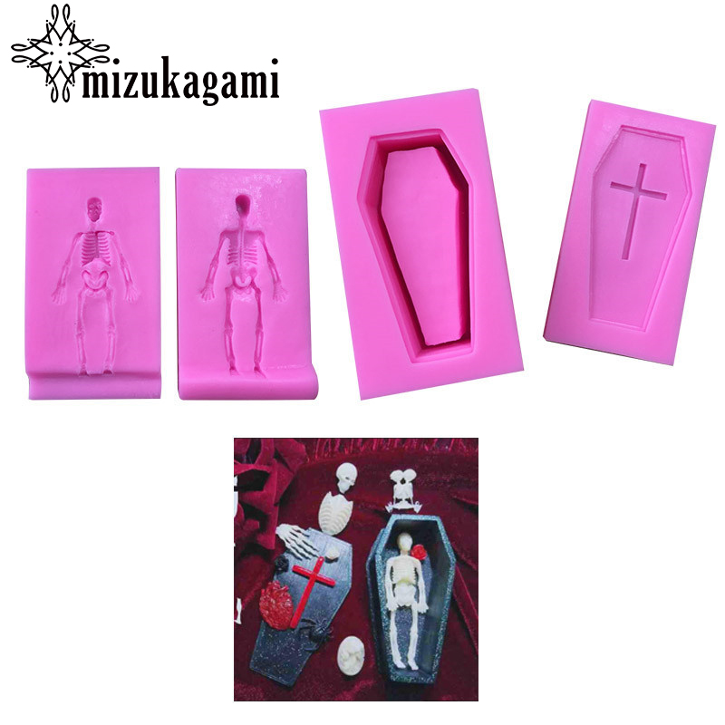 1pcs UV Resin Jewelry Silicone Mold 3D Stereoscopic Coffin Cross Skeleton For DIY Intersperse Decorate Making Pendant Jewelry