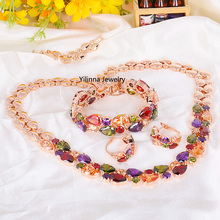 S400403 new colours zircon set earring bracelet necklace zinc alloy rose gold color With Austria crystal fashion wemon jewelry