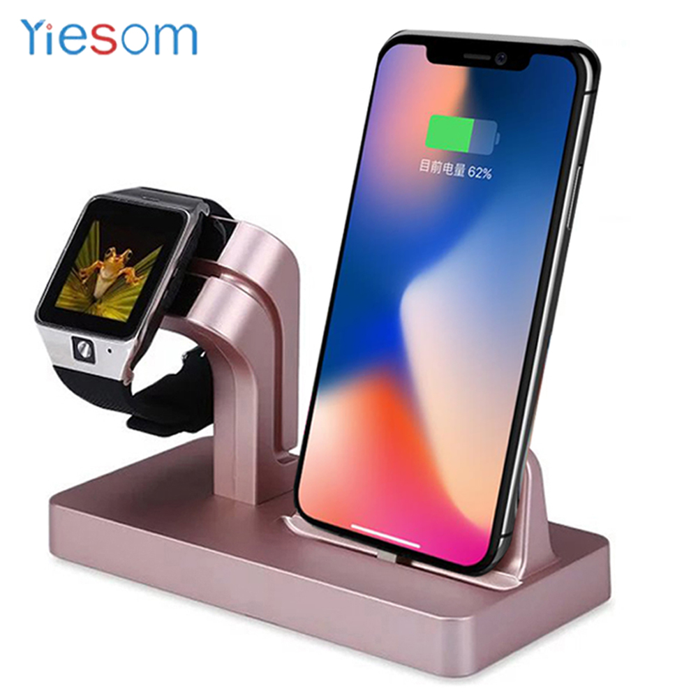 YIESOM For Apple Watch Charging Dock Station Mobile Phone Holder For iPhone X 8 7 6 6S Plus SE 5S 5 Charger Stand Holder Cradle