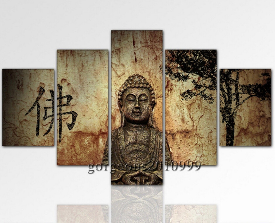 Modern Abstract Oil Canvas Painting Wall Art Buddha Zen *Ships From  USA*(China