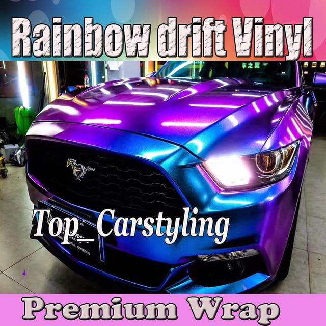 Gloss Sparkle Rainbow Drift Vinyl Car Wrap Styling Shift Blue To