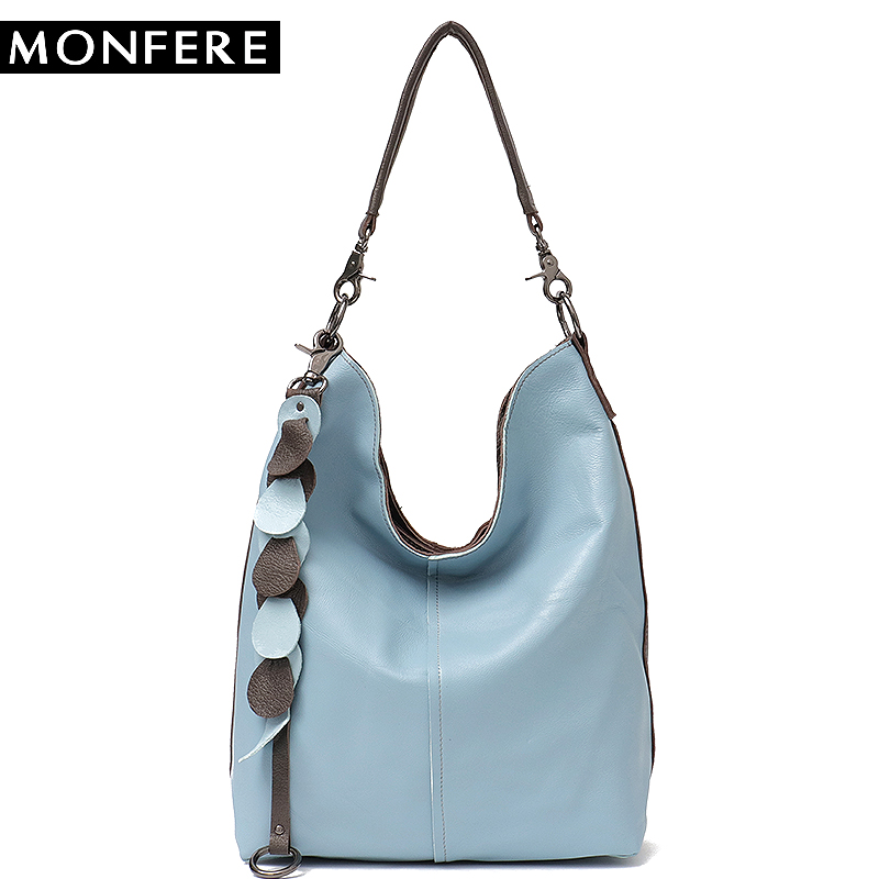 MONFERE Big Women Handbags Genuine Leather Shoulder Bags Ladies Fashion Tassel Large Hobo Cross body Bag Soft Real Leather Bags monfere luxury handbags women shoulder bag large tote bags big hobo soft leather ladies cross body messenger bag for women 2018