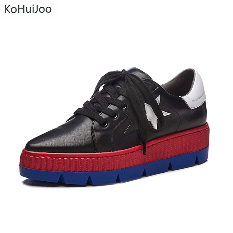 KoHuiJoo 2018 Cow Leather Sneakers Flat Platform Shoes Women Height Increasing Black White Ladies Casual Shoes Round Toe Flats asumer white spring autumn women shoes round toe ladies genuine leather flats shoes casual sneakers single shoes