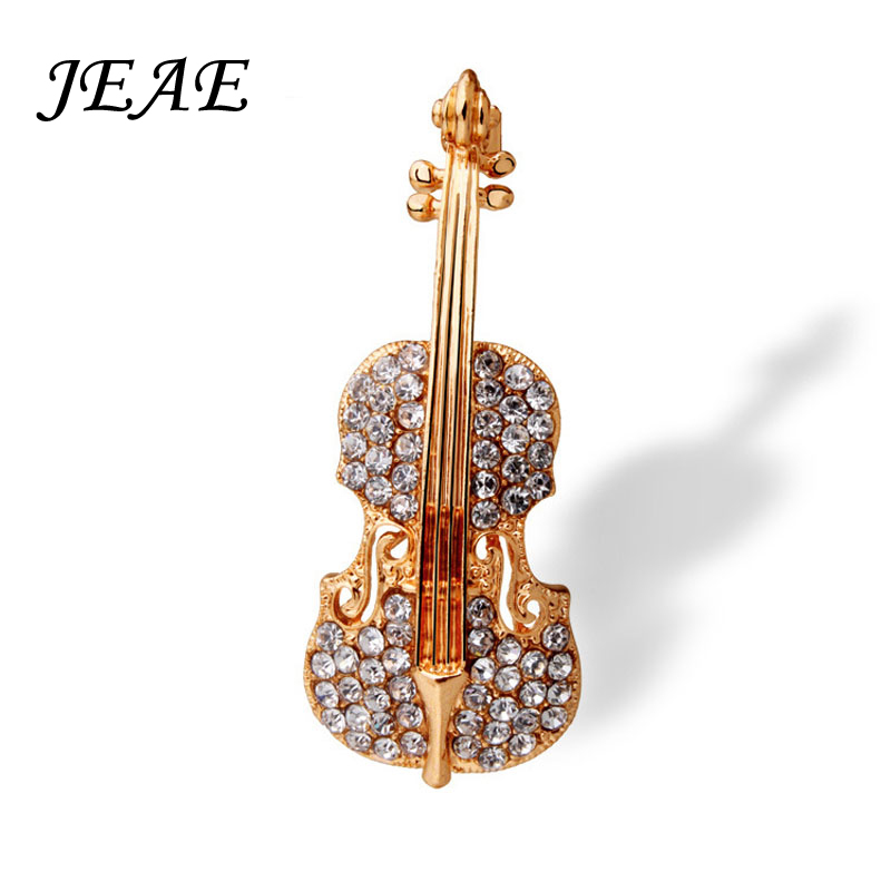 Fashion Pins Accessories Love lapel pin Gold Plated Crystal Violin Scarf  Brooches for Women Rhinestone Brooch wedding Broche