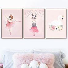 Nordic Watercolor Cartoon Unicorn Deer Rabbit Girl Canvas Painting Pink Flower Poster Swan Wall Pictures Kids Girls Room Decor(China)