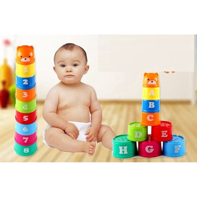 Zhenwei 9 Pcs/set Stack Cup Letters Numbers Education Toy Children Kid Educational Figures Letters Numbers Plastic Cup Tower