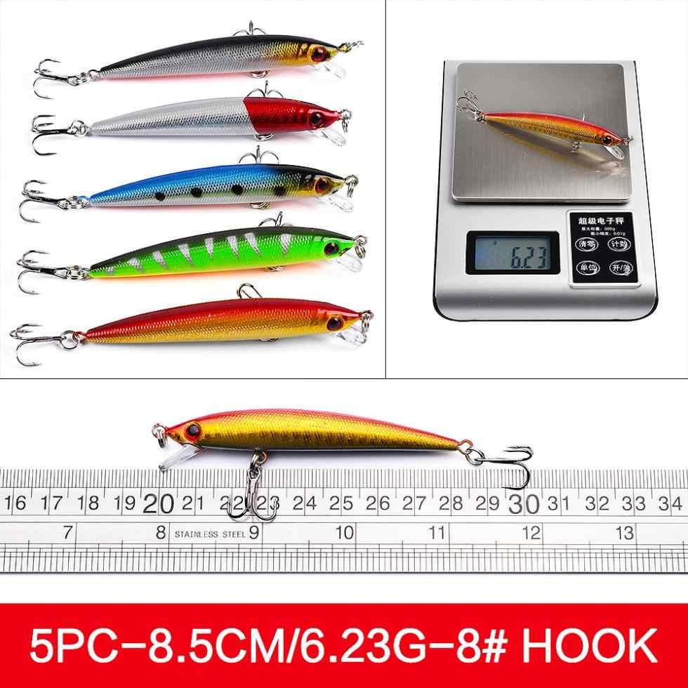48 pièces/lot mixte dur pêche leurre ensemble artificiel/vairon pêche Wobblers manivelle dur matériel de pêche