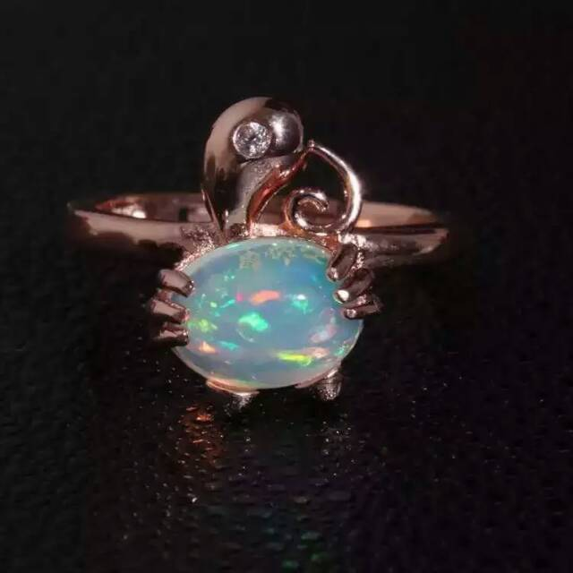Natural opal gem stone Ring Natural gemstone ring 925 sterling silver trendy elegant Lovely cat women girl party fine Jewelry