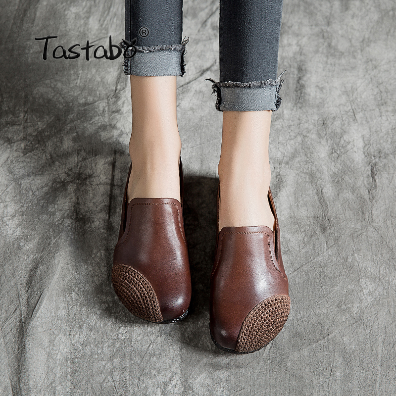 Tastabo Genuine Leather Shoes Fashion Loafers Women Shoes Handmade Soft Comfortable Flat Casual Shoes Women Flats