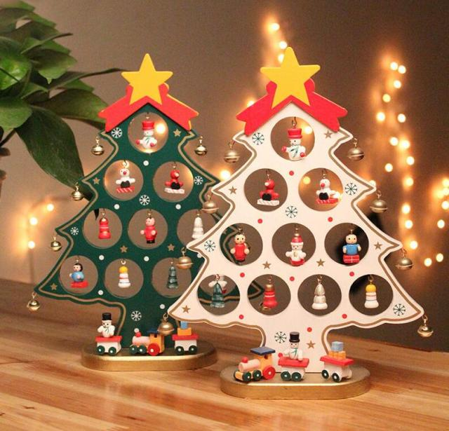 diy cartoon wooden artificial christmas tree decorations ornaments wood mini christmas trees gift ornament table decoration - Mini Christmas Decorations