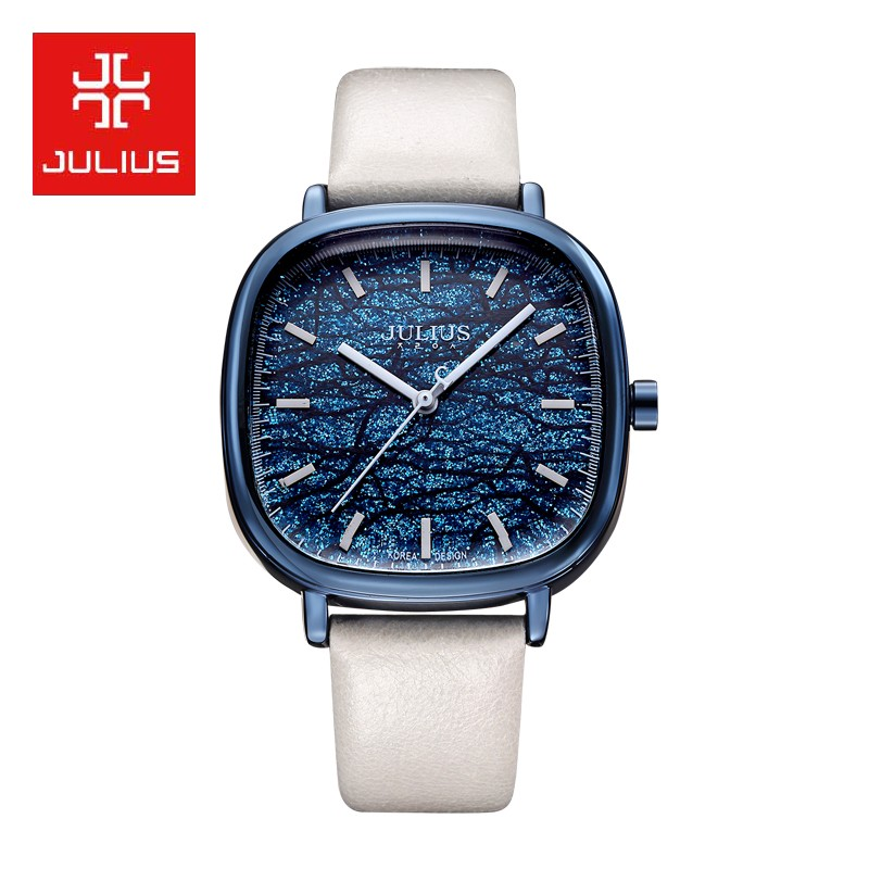 New Julius Lady Women's Sequin Watch 5 Colors Drama Fashion Hours Clock Bracelet Leather Girl Birthday Gift Box