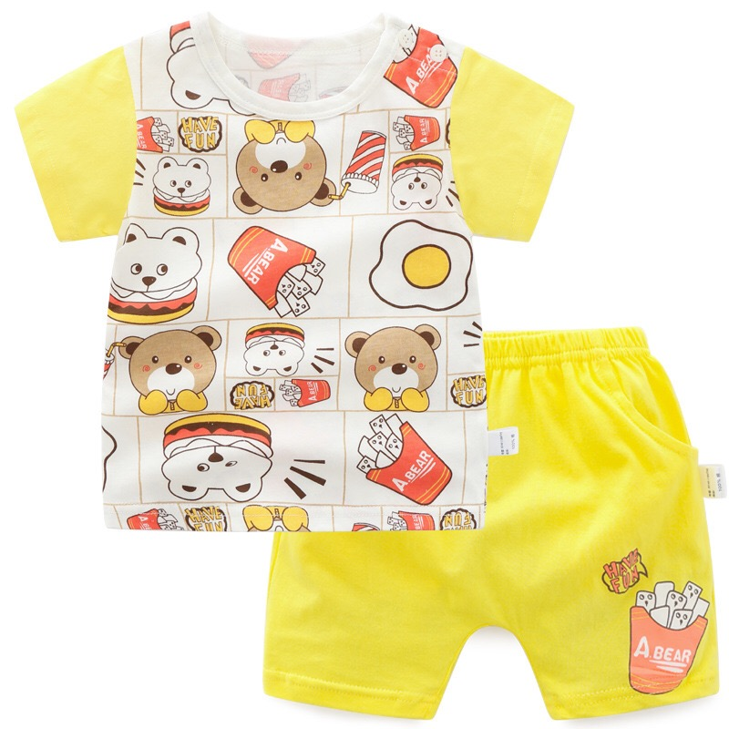 Summer season Kids's Clothes Set Cute Bear Children Boys Ladies Quick Sleeve T-Shirt + Shorts Swimsuit Cartoon Informal Cotton Swimsuit