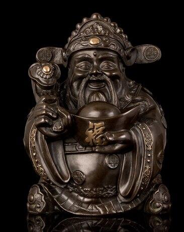 Decoración de cobre Buda latón fino estatua de estilo chino de bronce del Deseo fortuna escultura Fengshui Productos Suerte Decoración
