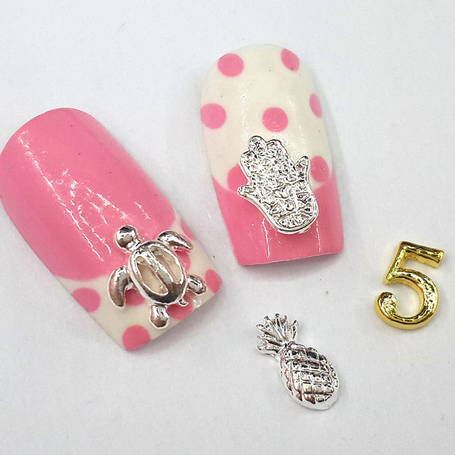 20pcs 3d nail art charming tortoise hamsa pineapple number five nail ...