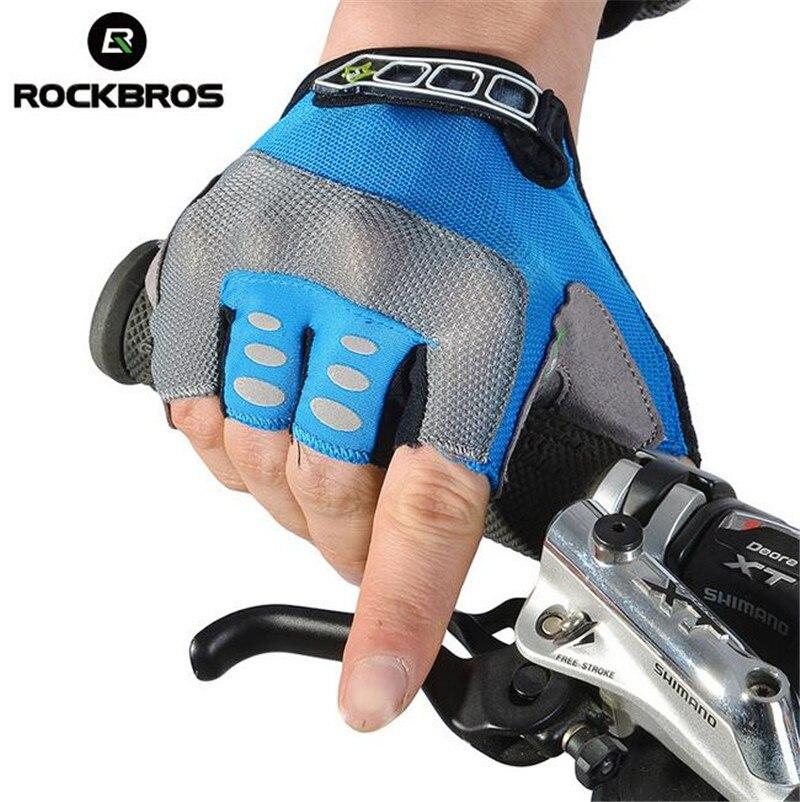 ROCKBROS Men Women Cycling font b Gloves b font Half Finger Gel Pad Mountain Road Bike