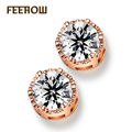 FEEROW Classic Round Crystal Stud Earrings Trendy Rose Gold Plated Fashion Jewelry For Bridesmaid Accessories FWEP101