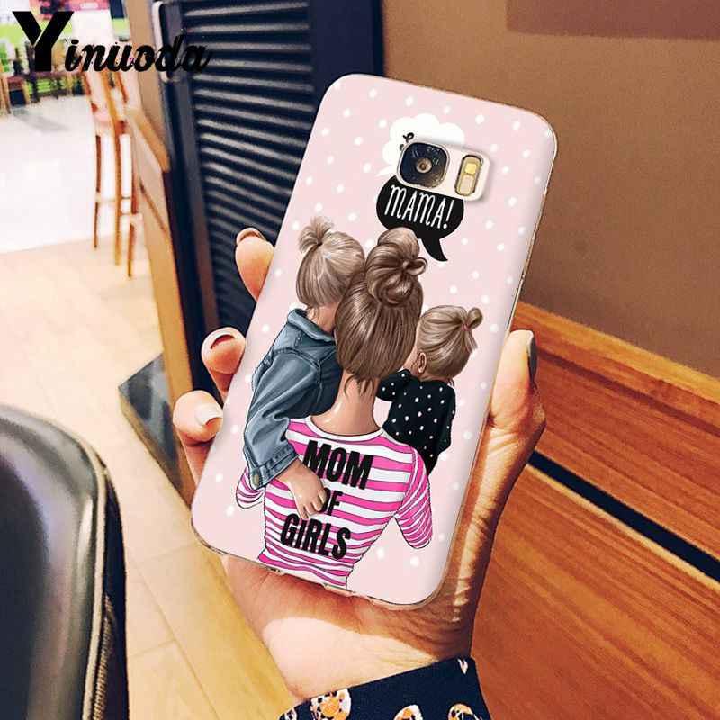 Yinuoda Hitam Coklat Rambut Bayi Ibu Gadis Ratu Smart Cover Shell Ponsel Case untuk Samsung S9 S9 Plus S8 S8plus s7 S6 S5 Ponsel Kasus