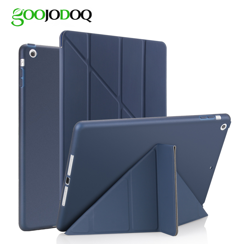 For iPad Air 2 Air 1 Case Silicone Soft Back Ultra Thin Slim PU Leather Smart Cover for Apple iPad Air Case [Multi-Fold Stand] ocube tri fold ultra slim tpu silicon back folio stand holder pu leather case cover for apple ipad 6 ipad air 2 9 7 tablet