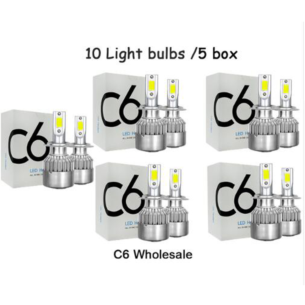<font><b>C6</b></font> Wholesale Car Lights Bulbs H7 <font><b>LED</b></font> H4 9003 HB2 H11 <font><b>LED</b></font> <font><b>H1</b></font> H3 H8 H9 880 9005 9006 H13 9004 9007 Auto <font><b>Headlights</b></font> 12V <font><b>Led</b></font> Light image