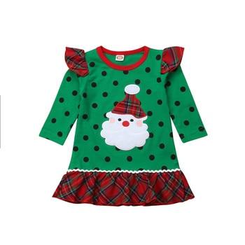 bb9b7bc10 2018 nuevo vestido de fiesta de princesa de Navidad para niñas y bebés con  volantes de Santa Claus Punto de manga larga de retazos traje 0-6Y