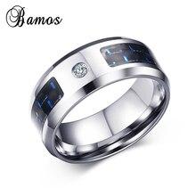 Cool Black & Blue Carbon Fiber CZ Stone Rings For Men We