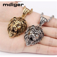 Mdiger Lion Design Pendant Necklace Titanium Steel Gold Plated Pendant Choker Long Chain Necklace Men Jewelry