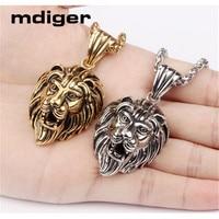 Mdiger Lion Design Pendant Necklace Titanium Steel Gold Plated Pendant Choker Long Chain Necklace Men Jewelry