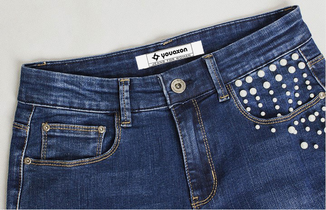 Ladies Modern Pearl Studded Denim Jeans