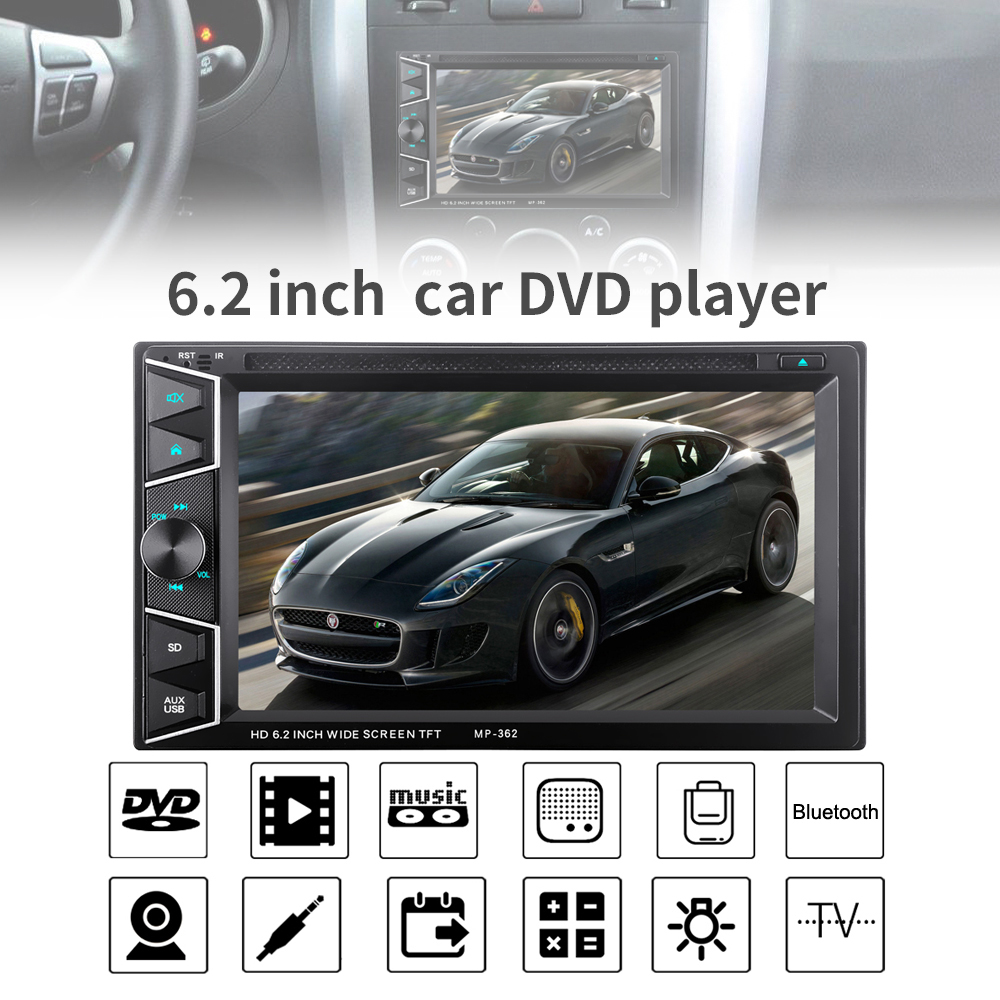 6.2 Inch2 DIN Bluetooth HD Touch Screen Car In Dash FM Radio Receiver DVD CD Player with Wireless Remote Control f6063b 7 inch hd touch screen 2din car in dash fm radio receiver bluetooth dvd cd player with wireless remote control