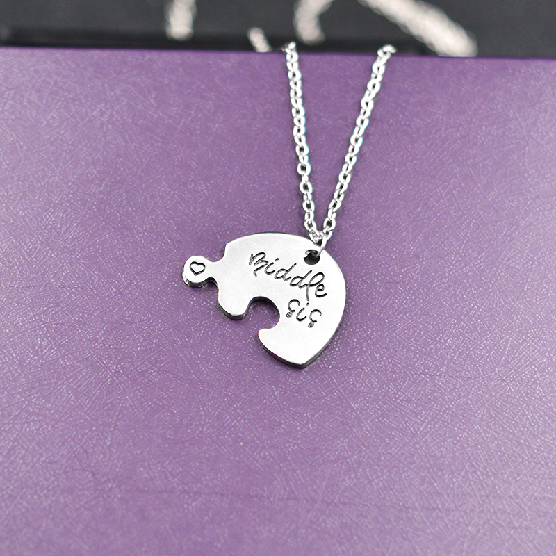 QIHE JEWELRY 3 Piece Heart Personlig stor sis middle sis little sis 3 - Mode smykker - Foto 4