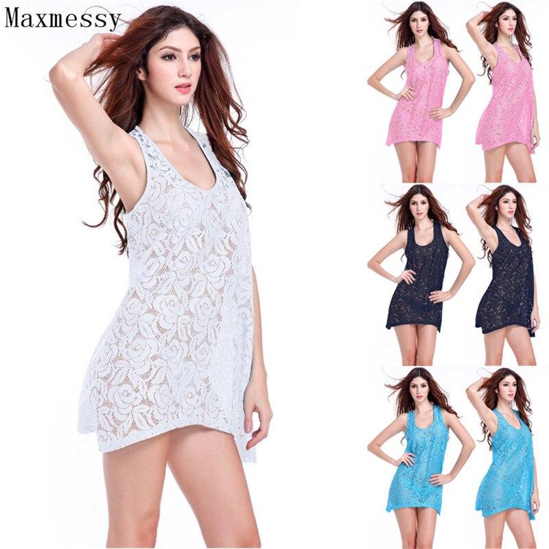 Maxmessy Women Lace Vest Cover Up Swimwear Bathing Suit Hollow Bikini Blouse Beach Tunics Dress Loose Tank Cover Ups MC260