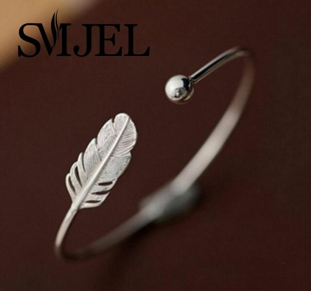SMJEL New Fashion Silver Feather Bracelets & Bangles Cuff Femme Leaf Charm Open Bangle for Women Jewelry Gifts pulseira feminina