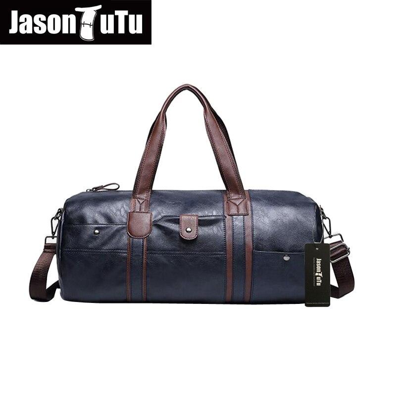 ФОТО JASON TUTU Brand Men leather Handbag men's vintage duffel bag large capacity shoulder strap Tote bag sac a main High quality B18