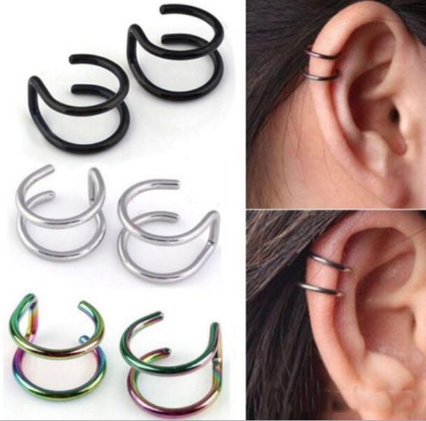 Jisensp Korean Style 1 Piece Punk Ear Clip Cuff Wrap Earrings No Piercing-Clip Hollow Adjustable Earring Fashion Jewelry Gift