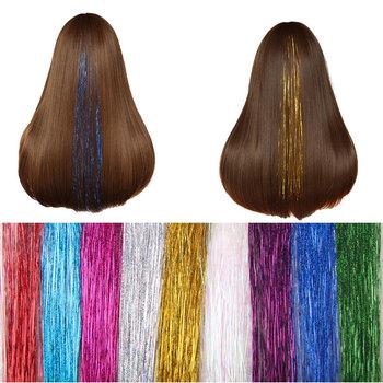 1 Sztuk Świecidełko Przedłużanie Włosów Klip W Flareing bling Akcesoria Świecidełko Holograficzny Brokat Sparkle Przedłużanie włosów Stylizacja Włosów tanie i dobre opinie Oplatarce 45cm synthetic hair Hair accessories decorations 80-100Strand 1 packet 1 color per lot Synthetic Hair Extension