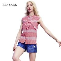 Elf SACK Tropical Summer P Female Vintage Stand Collar Sleeveless Sweet All Match Cotton Stripe Shirt