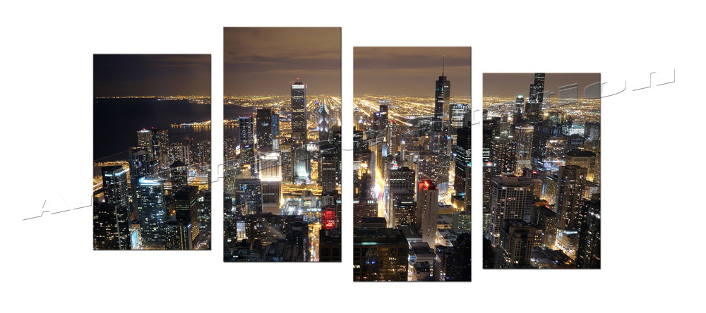 Chicago Skyline GIANT Wall Art Home Decor HD CANVAS PRINT,Chicago City  Night Panorama From John Hancock Poster Picture NO FRAMED In Painting U0026  Calligraphy ...