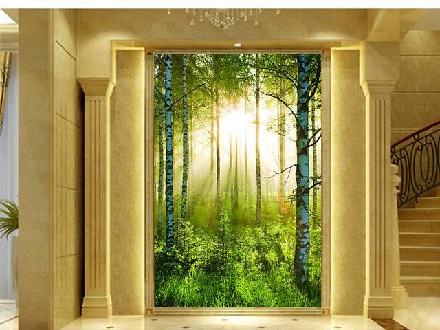 3d wall murals wallpaper Forest landscape morning sun wallpaper