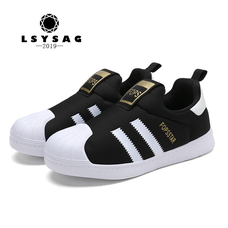 Lsysag Kids Shoes Casual Footwear Children's Flattie Sneakers Small Foot Chaussure Enfant Star Styles Shell Head Flat A Pedal(China)