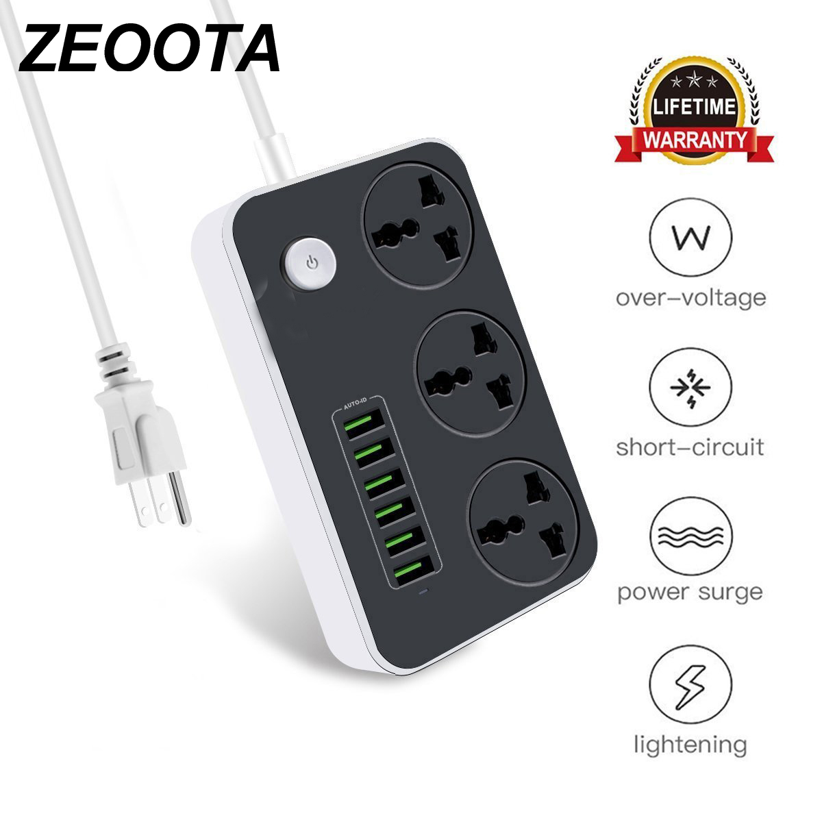 Power Streifen Universelle Buchse 3 Outlets 6 Schnell USB 5 V 3.4A 17 W Ladestation 2500 W Surge Protector 6.5ft kabel Circuit Breaker