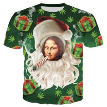 2018 New Santa Hamp Leaf Men Women Christmas Gift Smoking Mona Lisa Face Print 3D Short Sleeve Tshirt hip hop tee tops